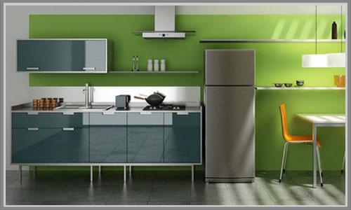 Dapur Minimalis Dengan Balutan Hijau Menyegarkan