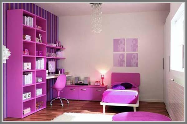 Kamar Tidur Anak Perempuan Minimalis Manis Dengan Warna Ungu Edupaint
