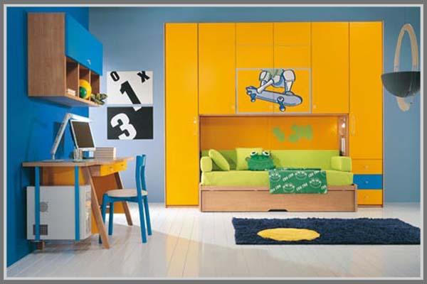 Kamar Anak Terlihat Menyenangkan Dengan Paduan Warna Biru Kuning Edupaint