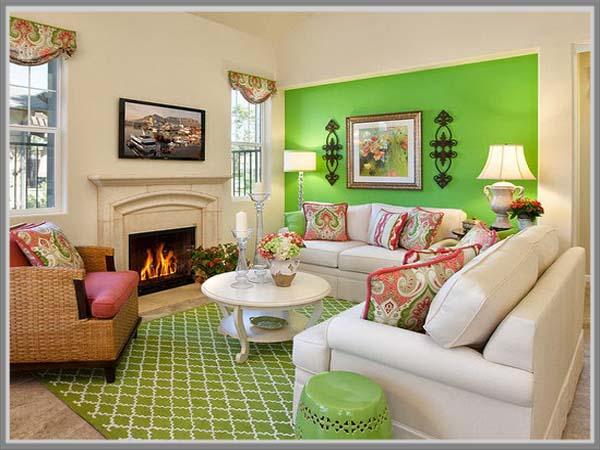 ciptakan kenyamanan di ruang keluarga dengan warna hijau