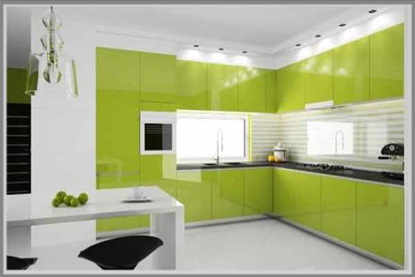Asyik Dengan Warna Hijau Di Dapur Modern Minimalis