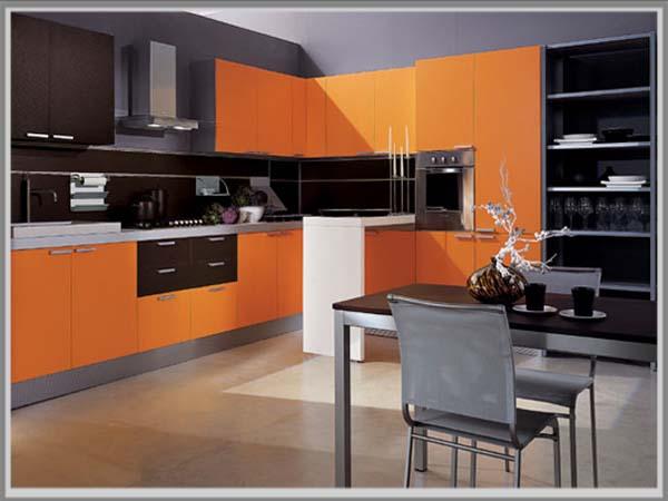 Kombinasi Warna Coklat Oranye Di Dapur Minimalis