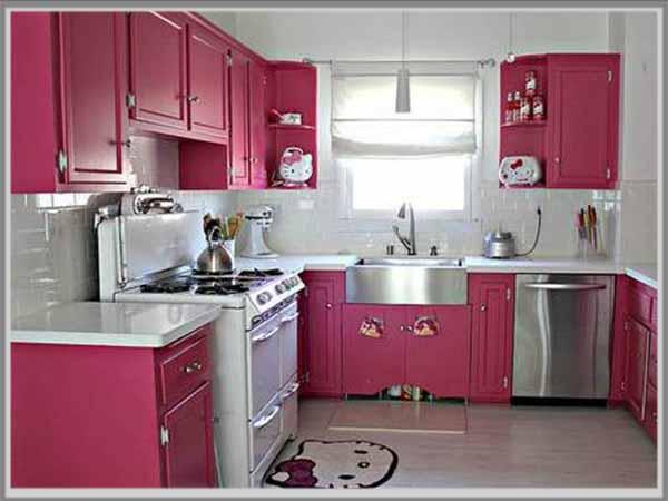 Dapur Terkesan Manis Dengan Paduan Warna Pink