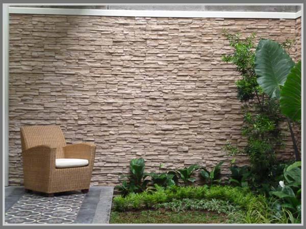 tembok batu alam minimalis: Tembok batu alam minimalis batu alam andesit bakar hijau model