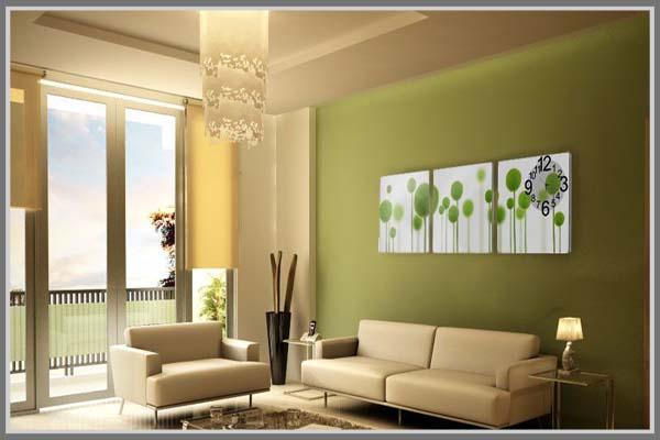 Warna Hijau Pastel Menarik Jika Anda Pilih Sebagai Aksen Di Satu Sisi Dinding Yang Pertama Terlihat Ketika Orang Masuk Ke Dalam Ruang Tamu