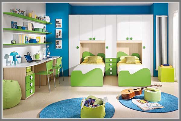 Kamar Tidur Anak Laki Laki Warna Hijau Biru