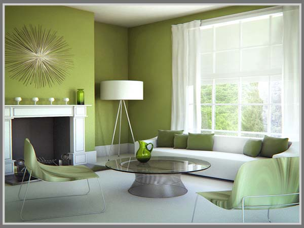 Kombinasi Hijau Dan Putih Di Ruang Tamu Edupaint