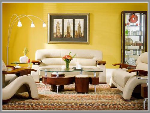 Kuning Yang Ceria Dan Menarik Di Ruang Tamu