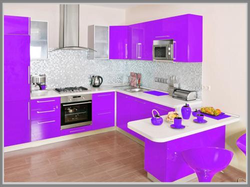 Dapur Tampil Menarik Dengan Aksen Ungu