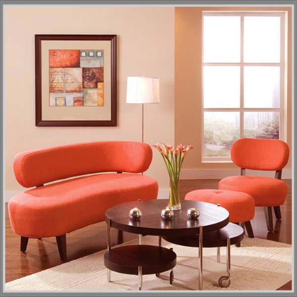 Kombinasi Warna Krem Dan Oranye Di Ruang Tamu Edupaint