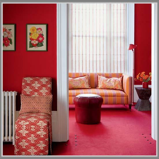Merah Berpadu Lat Di Ruang Tamu Nuansa Imlek