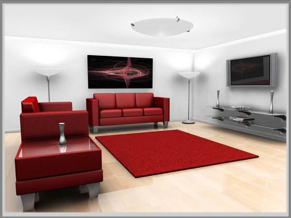 Desain Indah Di Ruang Tamu Berbalut Putih Merah