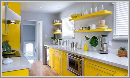 Dapur Mencuri Perhatian Dengan Aksen Warna Kuning