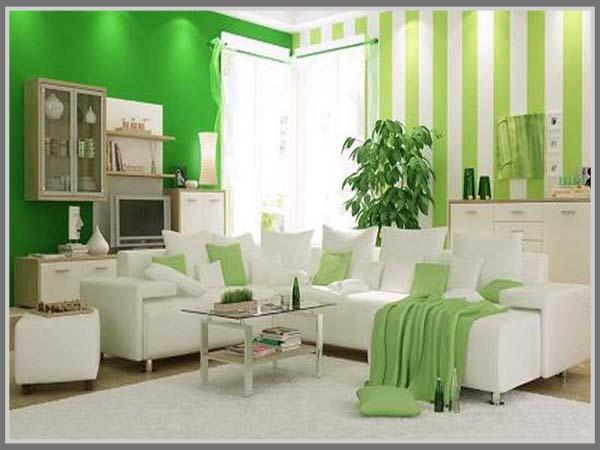 Ruang Tamu Terkesan Fresh Dengan Warna Hijau Putih