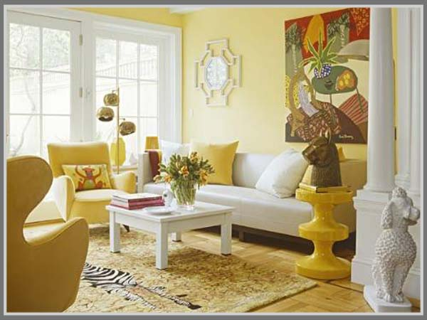 Ruang Tamu Warna Kuning Hangat Ceria