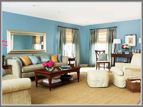Ruang Tamu Menawan Dengan Kombinasi Warna