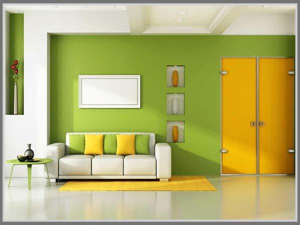 Kesan Segar Di Ruang Tamu Kuning Berpadu Hijau Eint