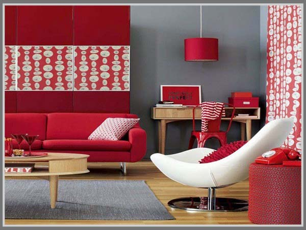Ruang Tamu Aksen Warna Merah