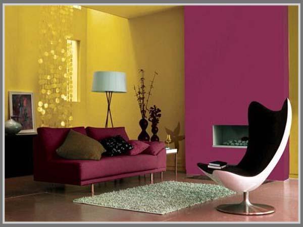 Desain Ruang Keluarga Warna Cerah